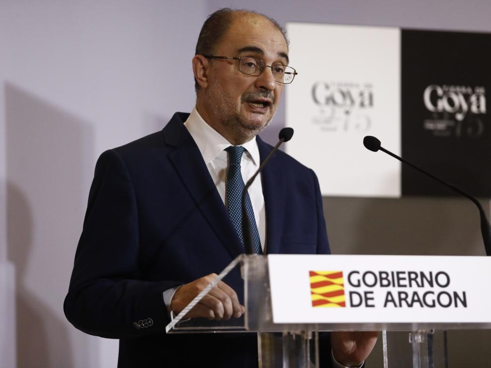 El presidente de Aragón, Javier Lambán, este jueves en el Museo de Zaragoza