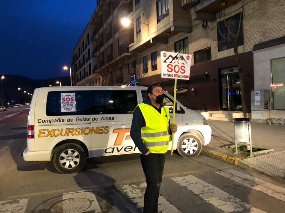 Imagen de la manifestación del viernes en Aínsa para pedir un plan de ayudas para los valles del Pirineo.