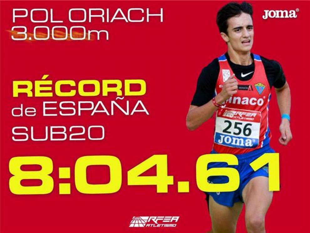 Pol Oriach batió en Barcelona el récord de España sub 20 de atletismo.