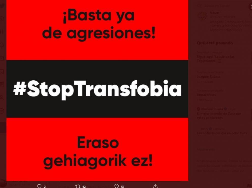 La la asociación de familiares de menores transexuales Naizen ha denunciado públicamente estos hechos.