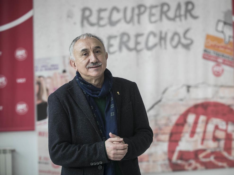 Pepe Álvarez, secretario general de UGT, el centro de formación Arsenio Jimeno de Zaragoza.