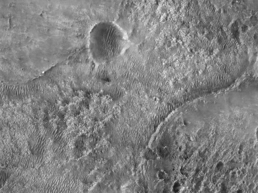 NASA's Perseverance Mars rover is seen where it landed in Jezero Crater on Mars