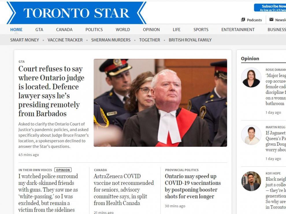 Portada del 'Toronto Star' en su versión digital.