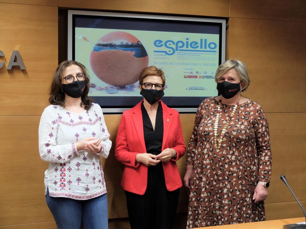 Patricia Español, Maribel de Pablo y Carmen Muro en la presentación de Espiello.