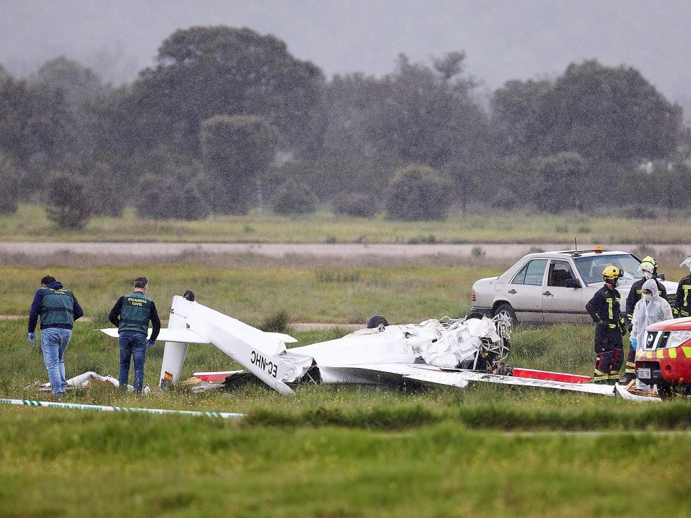 Mueren los dos ocupantes de una avioneta sin motor en un accidente en Toledo.
