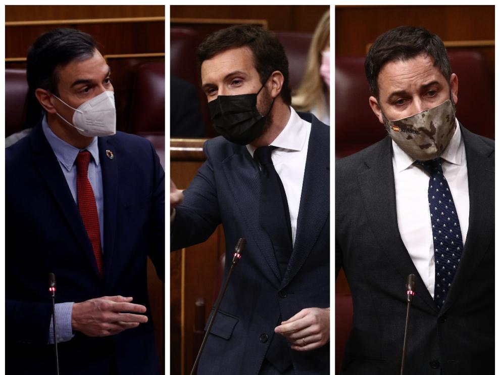 Pedro Sánchez, Pablo Casado y Santiago Abascal, este miércoles en el Congreso.