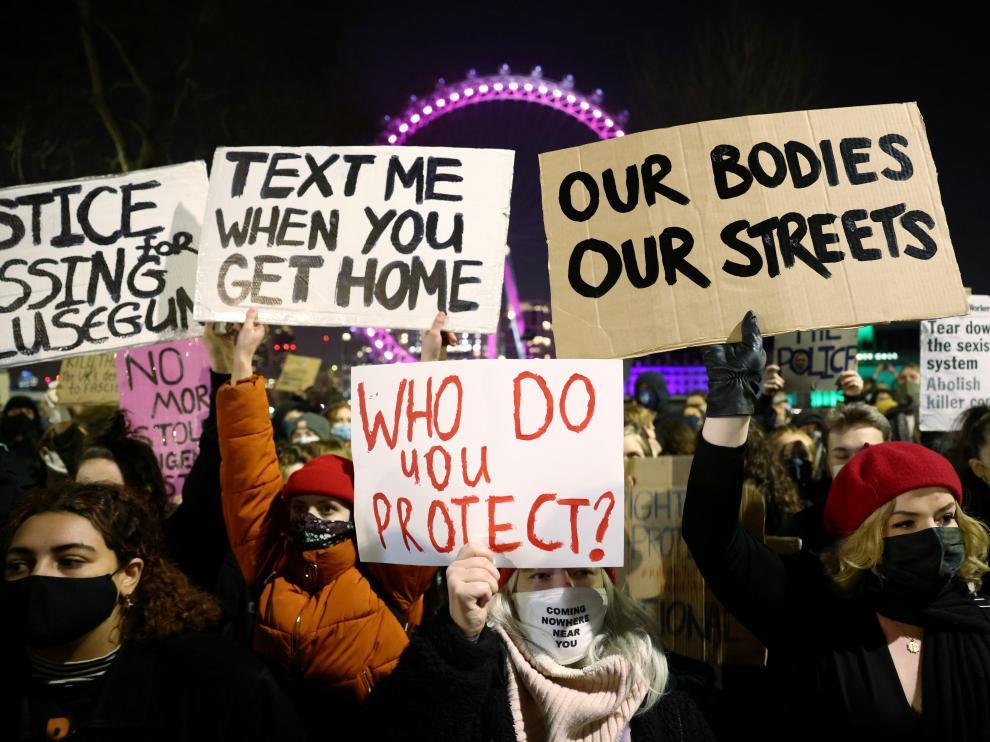 Manifestación en Londres por el asesinato de Sarah Everard.