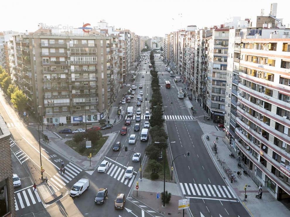 Vista de una calle de Zaragoza.