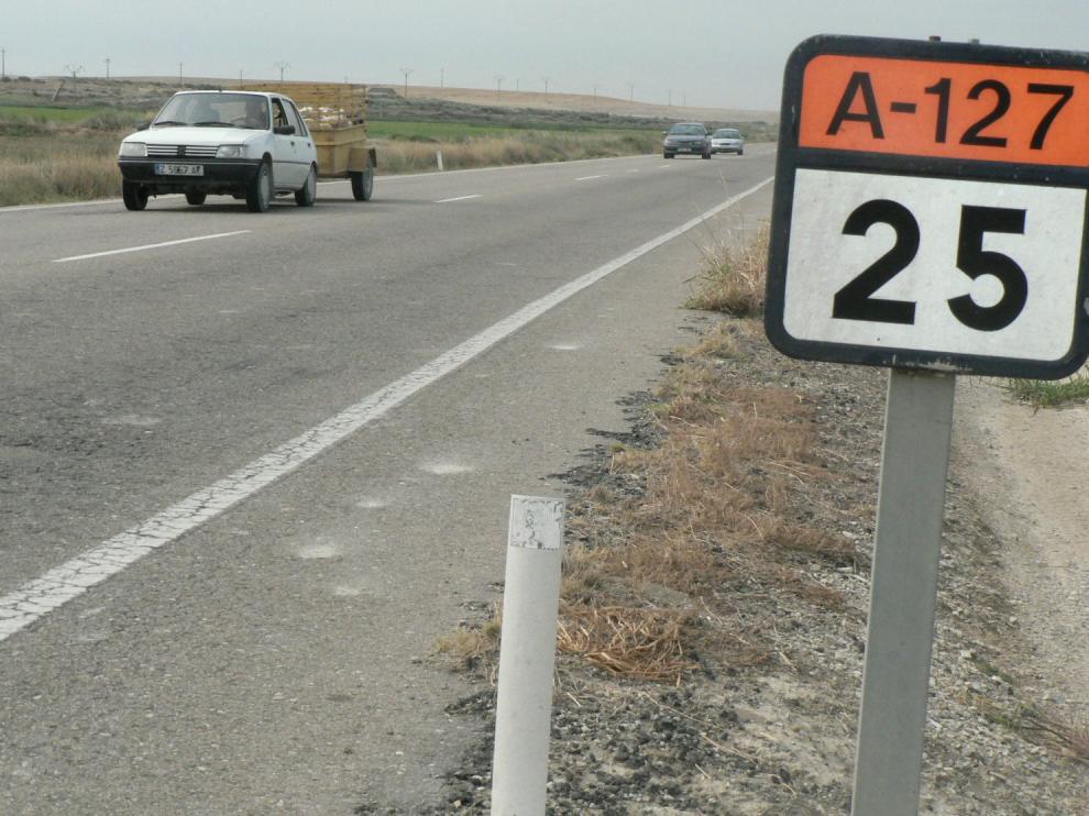 Imagen de archivo de la A-127, entre Gallur y Ejea