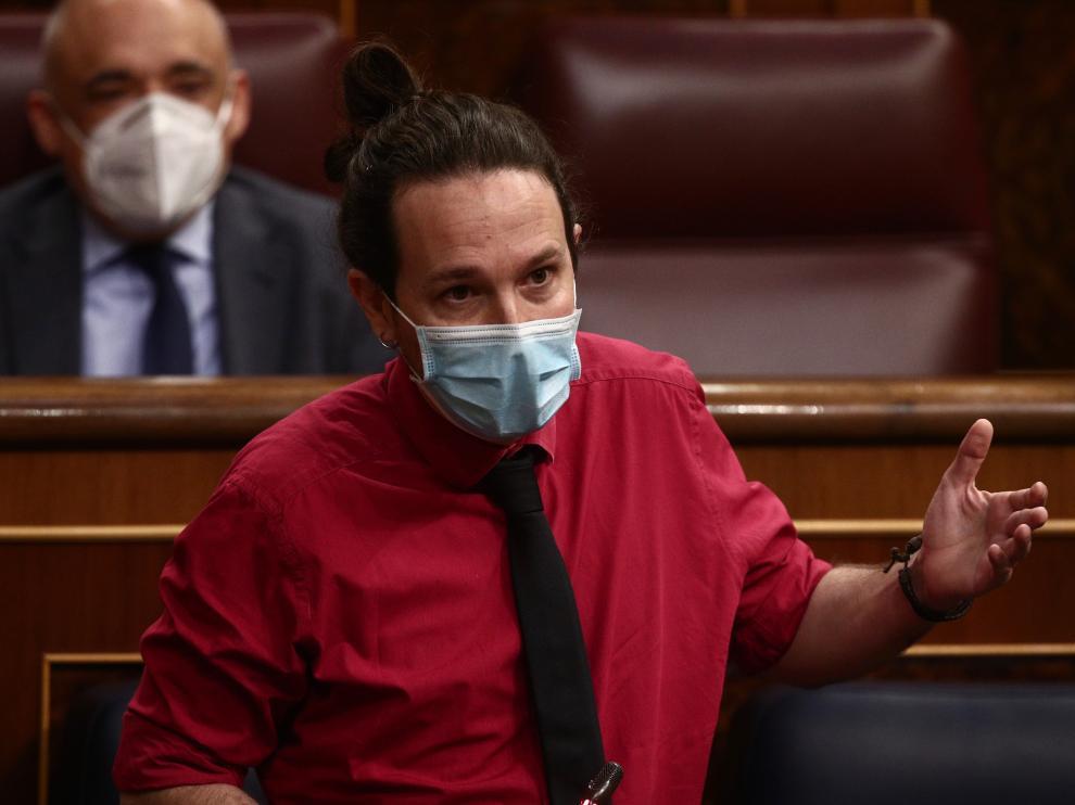 Pablo Iglesias, este miércoles en el Congreso de los Diputados.