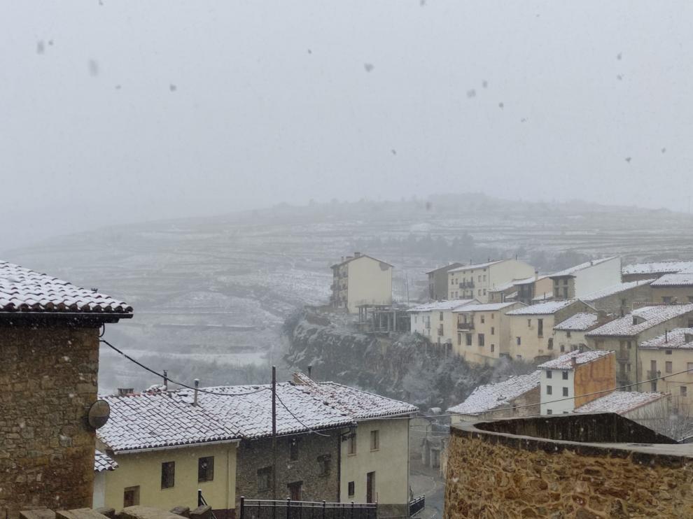 Los campos de Mosqueruela, cubiertos de una fina capa de nieve.