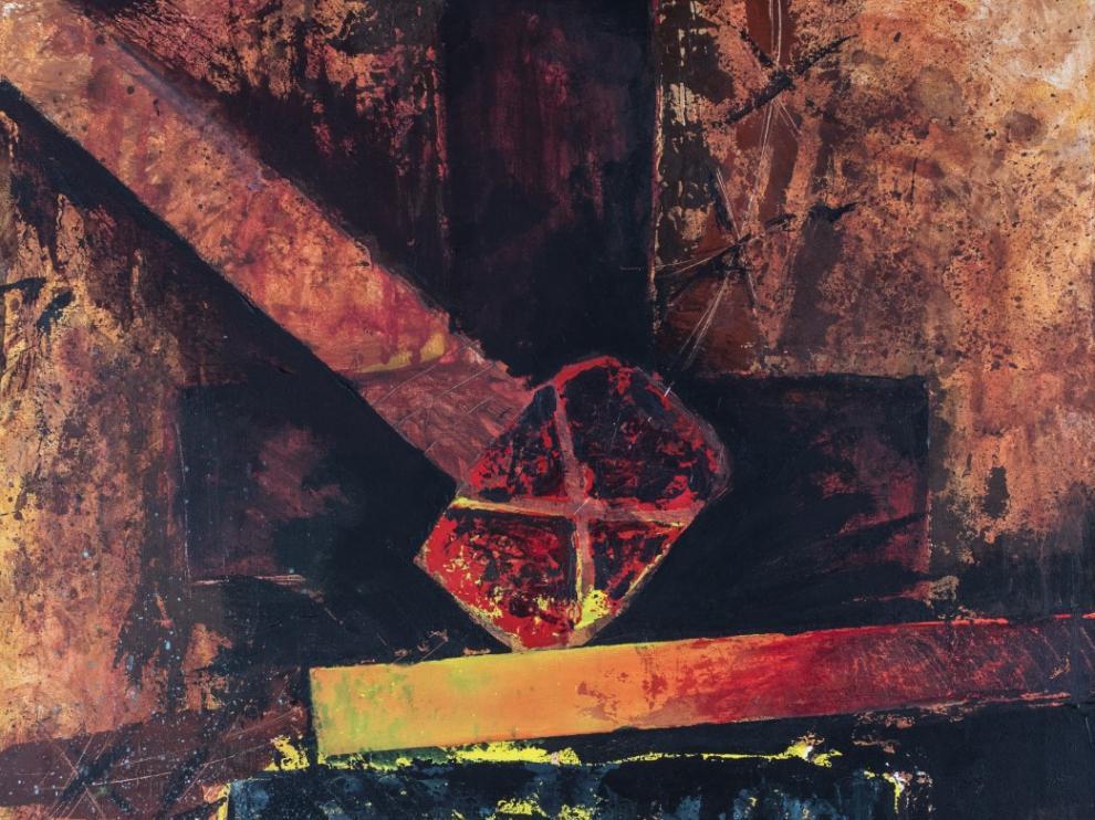 Una de las pinturas que David Castillo expone en la Fundación Caja Rural de Zaragoza.