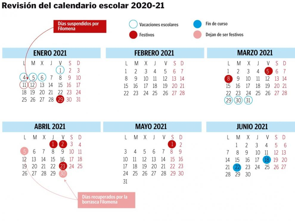 Calendario escolar en Aragón