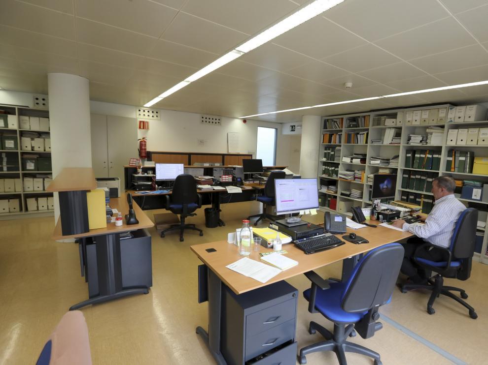 Una de las oficinas municipales durante los servicios mínimos prestados durante el confinamiento.