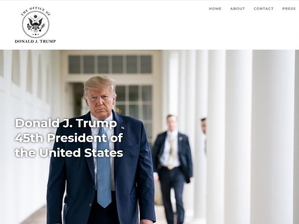 Portada de la nueva página web de Trump