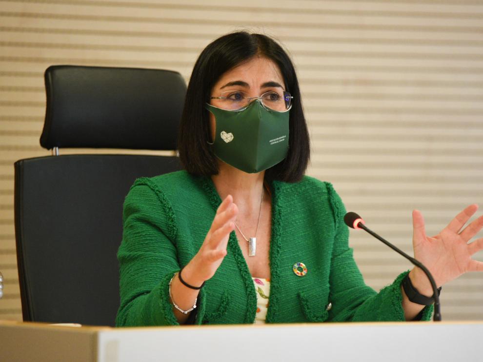 La ministra de Sanidad, Carolina Darias, este lunes en Valencia.