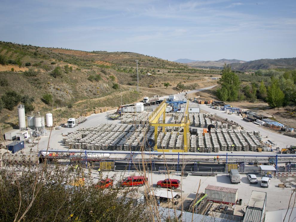 Estado actual de las obras de la presa de Mularroya.