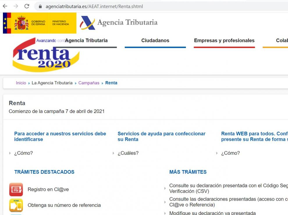 Página web de la Agencia Tributaria.