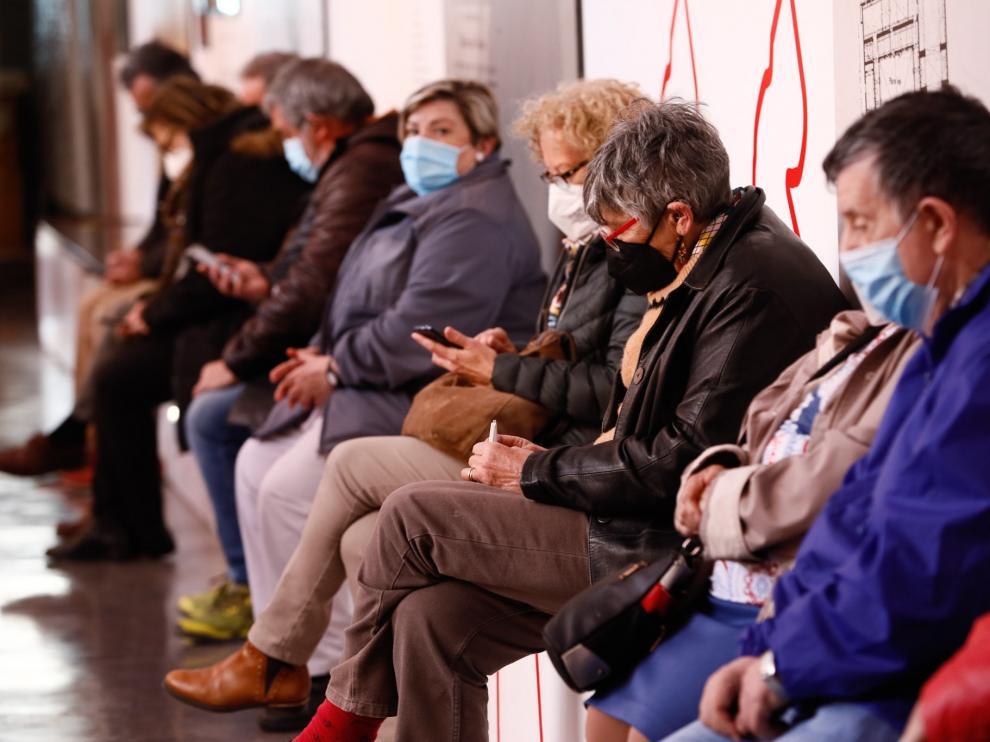 Vacunación este lunes en el Museo del Fuego de Zaragoza.