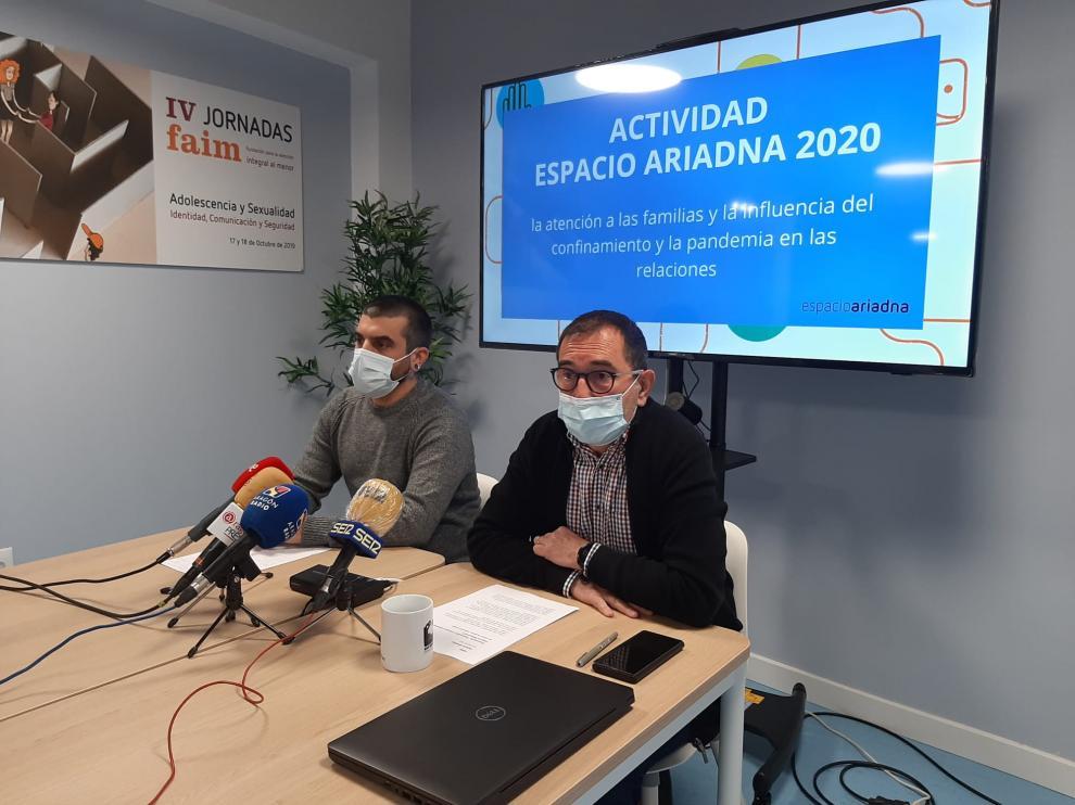 Raúl Gutiérrez y Pedro Coduras, este miércoles, durante la presentación de la actividad de Espacio Ariadna y el estudio realizado