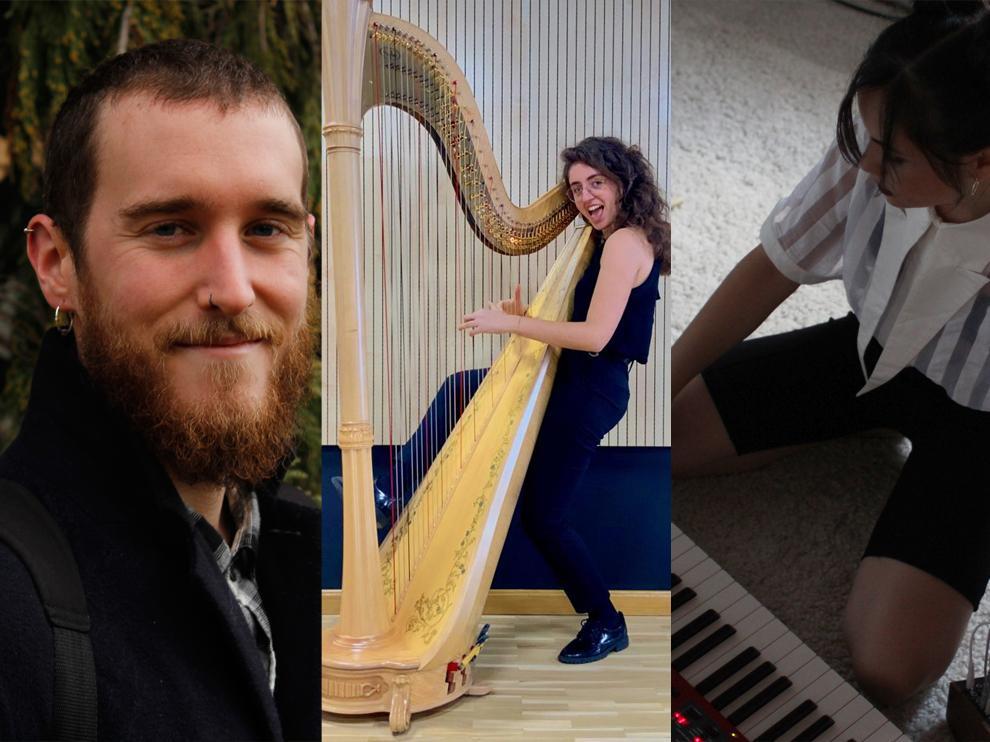 Juan Zalba, Alba Franco y Yasmina Qiu, tres músicos aragoneses.
