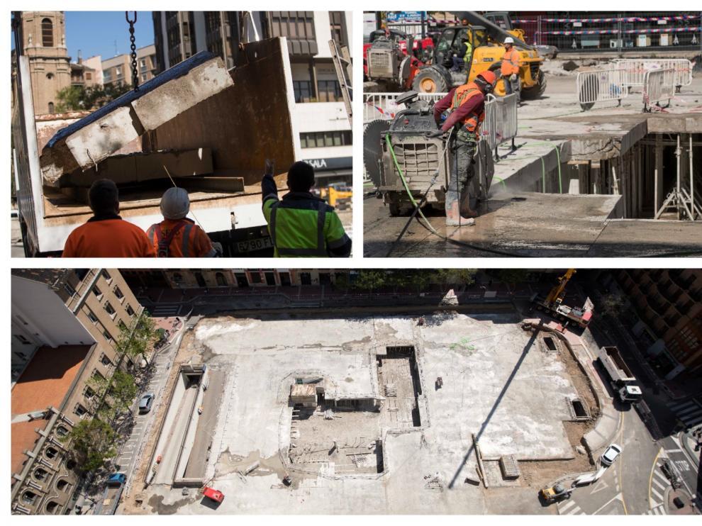 Los trabajos para levantar la losa del parquin de la plaza Salamero han comenzado este viernes.