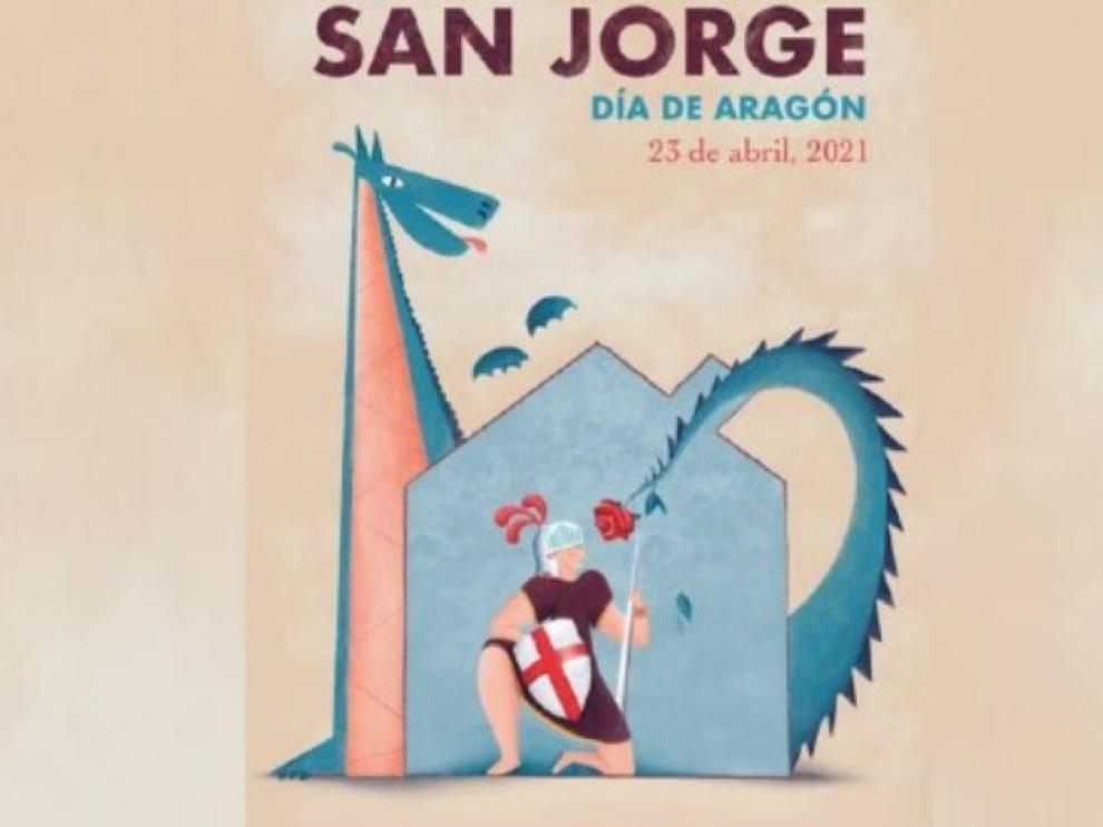 'San Jorge lucha desde casa' gana el concurso del cartel para el Día de Aragón 2021