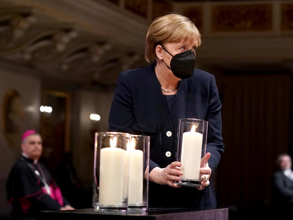 La canciller alemana, Angela Merkel, durante el acto en homenaje a las víctimas del coronavirus.