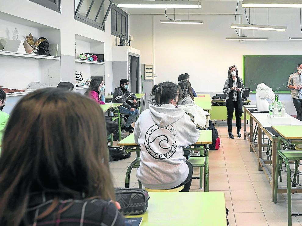 Los alumnos del IES Goya de Zaragoza, en febrero, cuando recuperaron la presencialidad total.