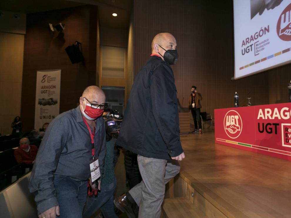 Daniel Alastuey sube al estrado, este lunes en el 8º congreso regional de UGT Aragón.