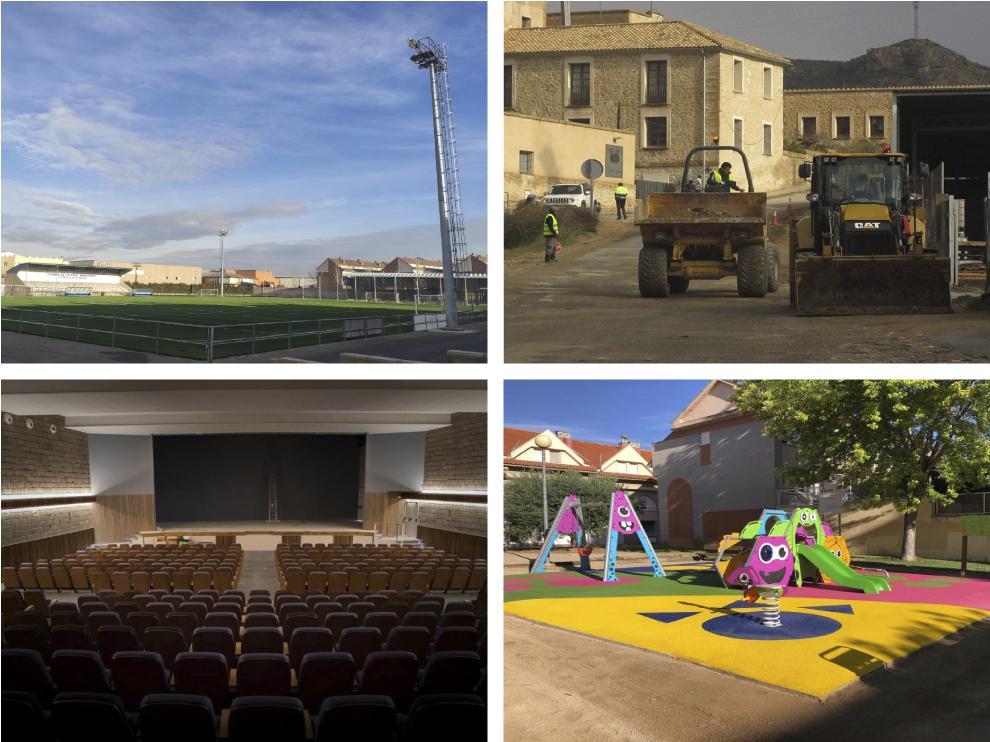 Algunas de las actuaciones desarrolladas en el marco de las ayudas PLUS: paviumentación de calles, mejora del campo de fútbol, parques infantiles, espacios culturales...