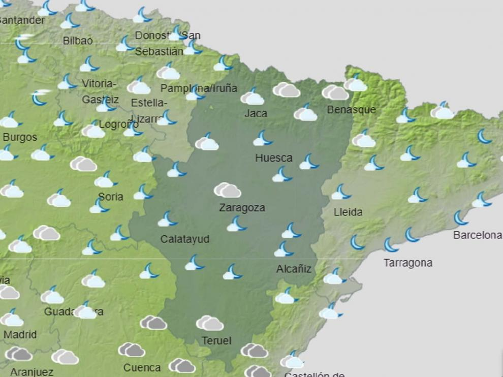 Mapa de Aragón con el tiempo para el 23 de abril