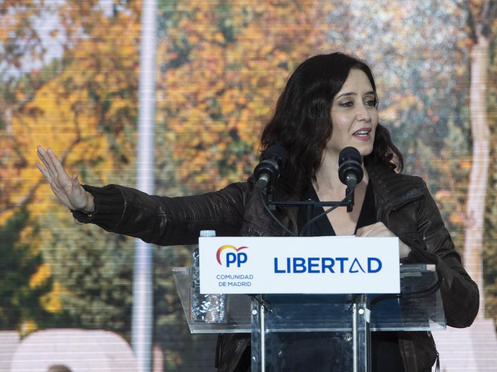 Isabel Díaz Ayuso, este viernes en un acto de campaña
