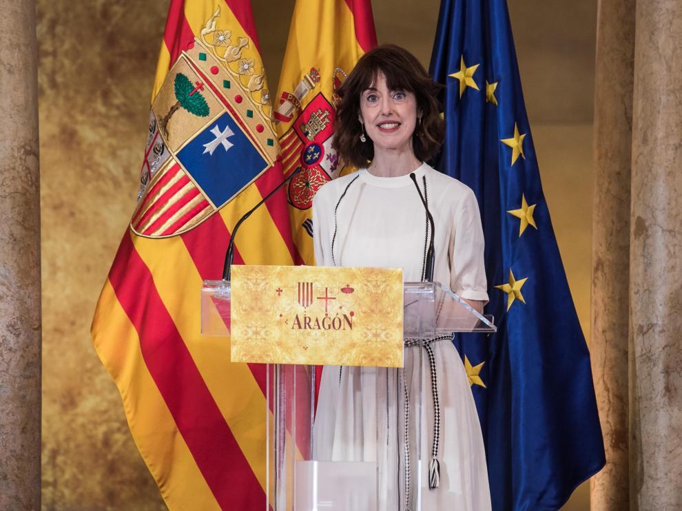 Irene Vallejo en el acto institucional del Día de Aragón.