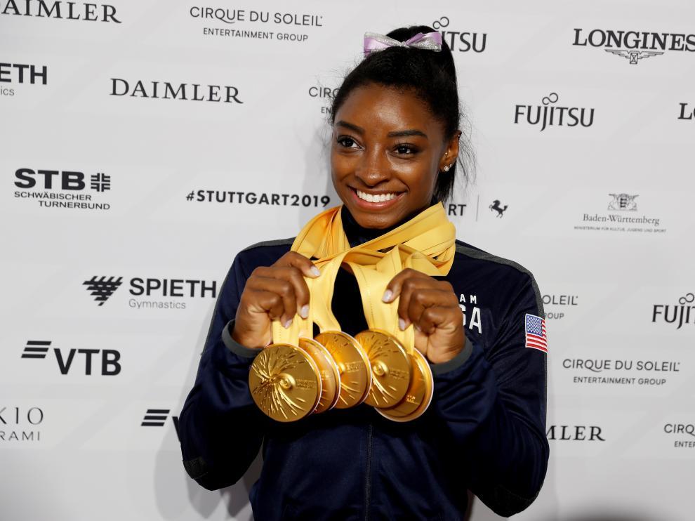 la gimnasta Simone Biles.