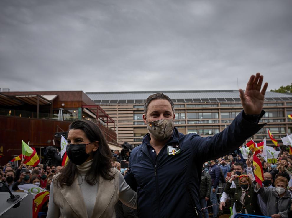 Acto de Santiago Abascal junto a Rocío Monasterio en Madrid este domingo