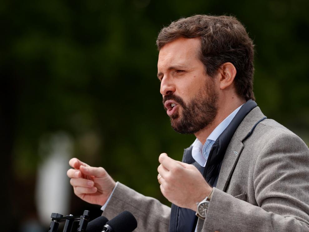 Pablo Casado este sábado en un acto de la campaña madrileña