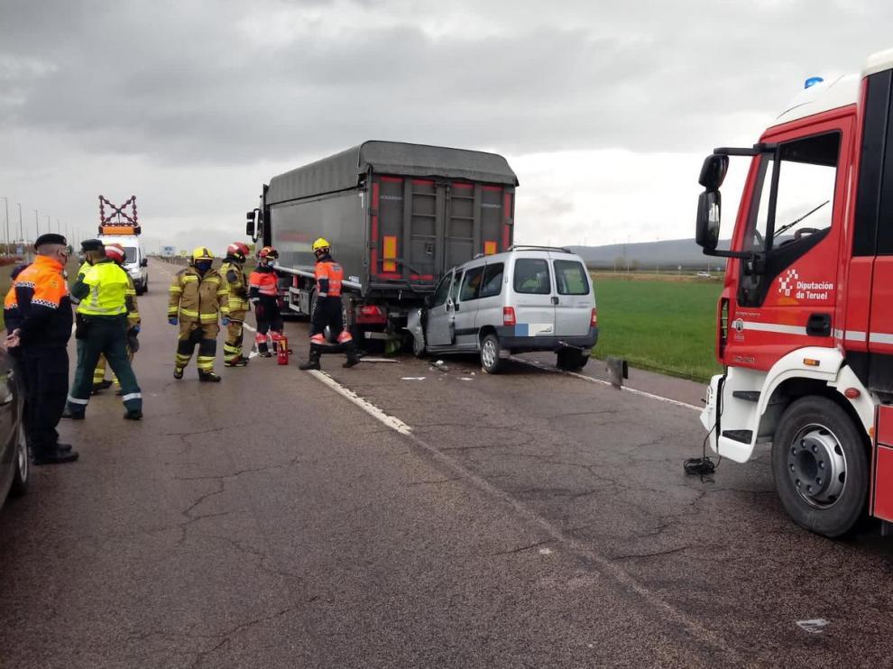 Accidente de un camión en Teruel