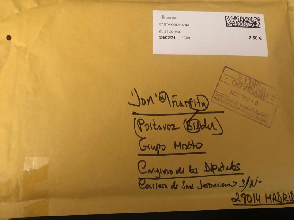 El sobre recibido por Jon Iñarritu (Bildu)