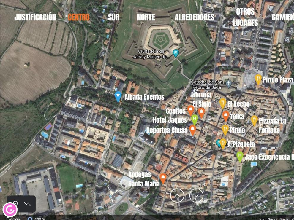 Pantalla del mapa interactivo de los establecimientos comerciales de Jaca