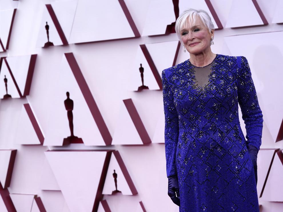 Glenn Close en la alfombra roja de los Óscar.