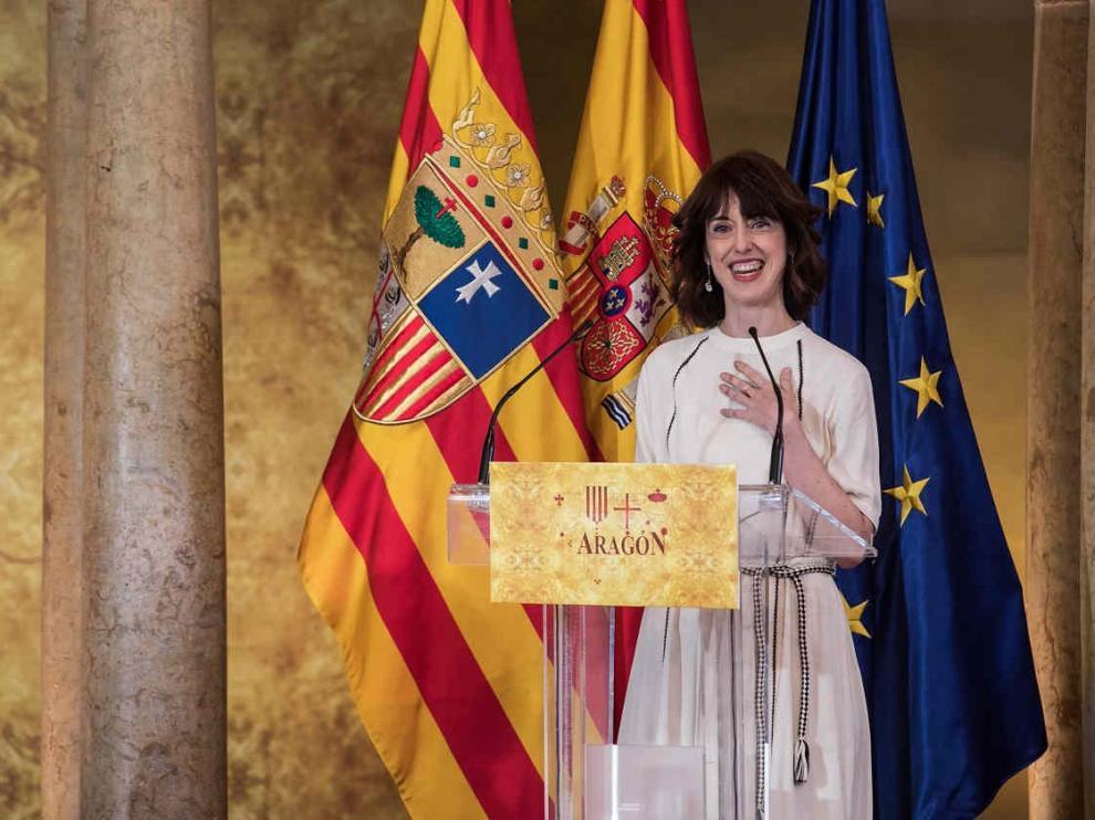 La escritora Irene Vallejo, Premio Aragón 2021, en el acto institucional del Día de Aragón
