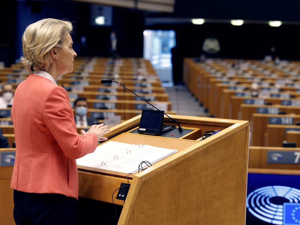 Von der Leyen, este lunes ante el pleno del Parlamento Europeo.