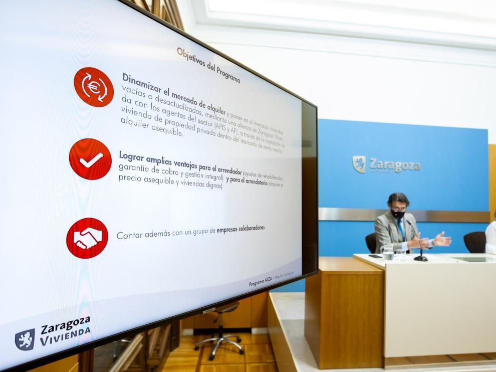 Presentación del programa de captación de vivienda 'Alquila Zaragoza'.