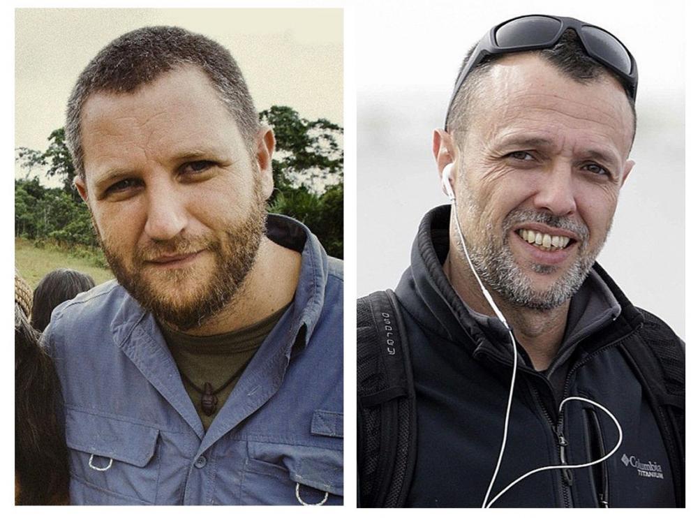 Combo de dos fotos que muestra a los periodistas españoles David Beriain (i) y Roberto Fraile, asesinados en Burkina Faso mientras grababan un documental sobre caza furtiva,