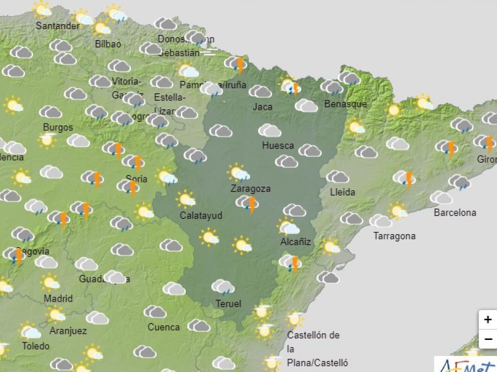 Avisos amarillos por lluvias y tormentas en varias zonas de Aragón este jueves