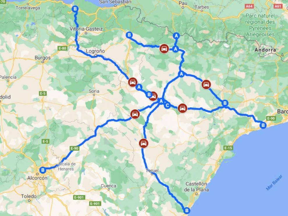 Mapa de las autovías y autopistas que pasan por Aragón