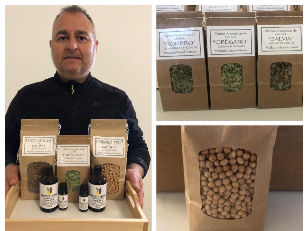 David Escribano y algunos de sus productos ecológicos de Moncayo Herbal.