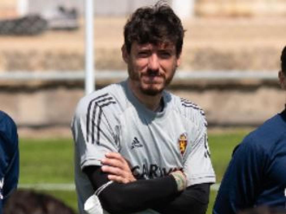 Cristian Álvarez, este sábado en el entrenamiento al regreso de Lugo.
