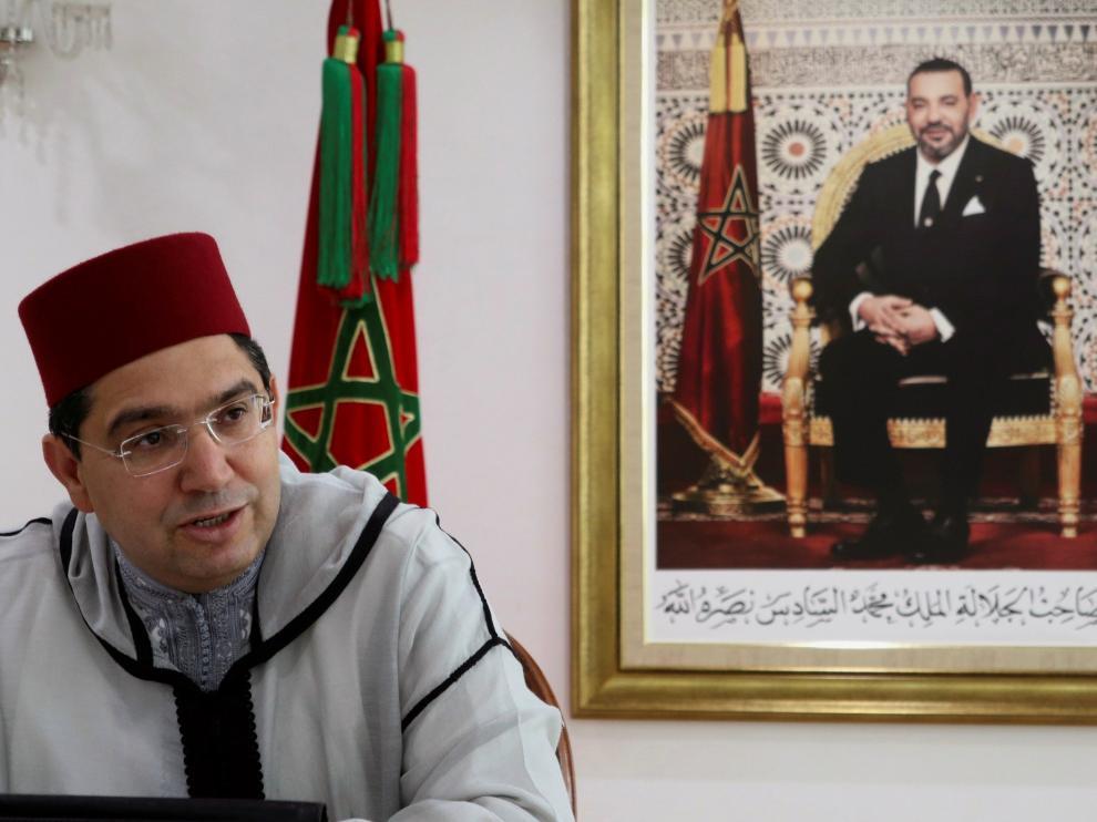 El ministro marroquí de Exteriores, Nasar Burita, durante la entrevista.